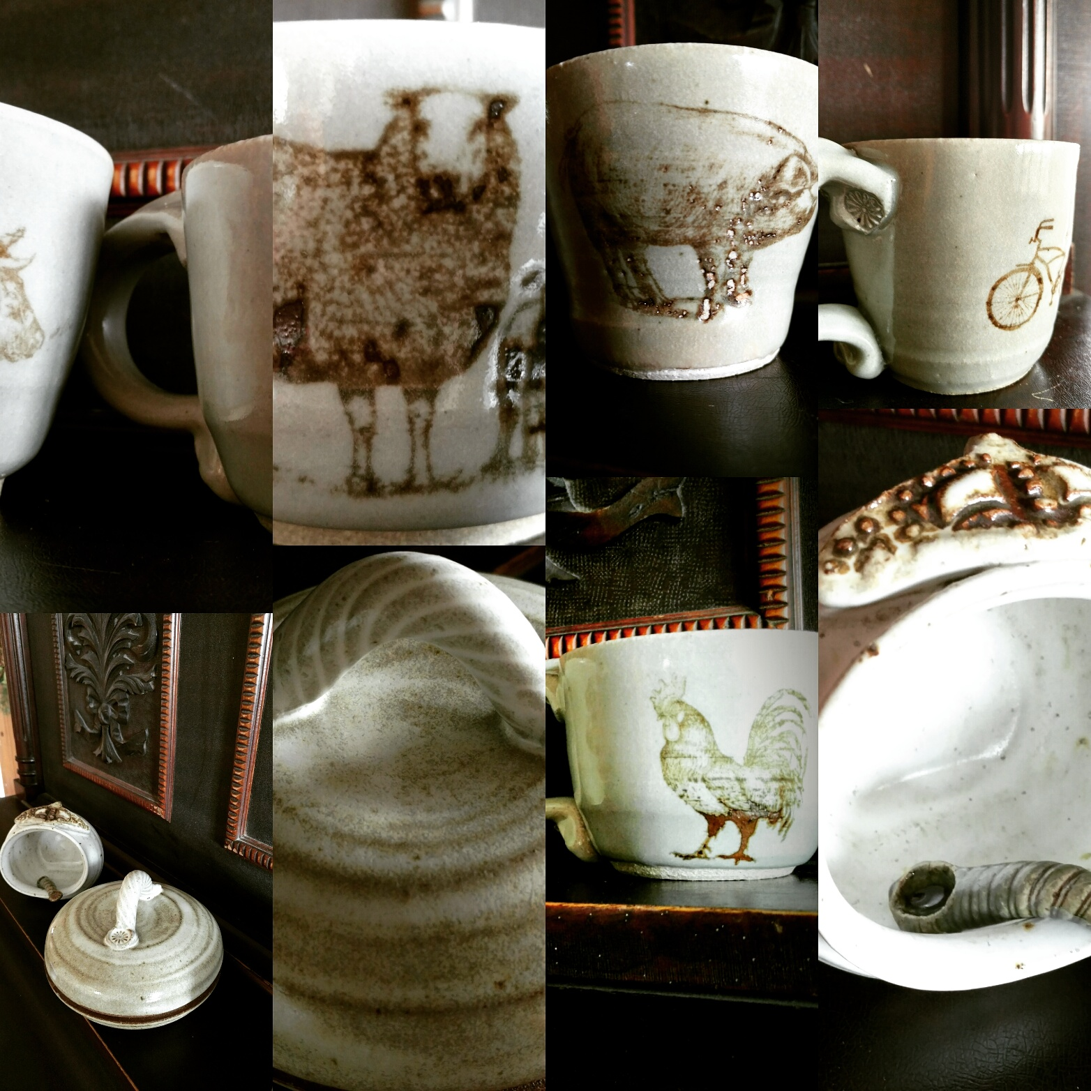 a variety of silkscreen images on mugs and ceramic vessels